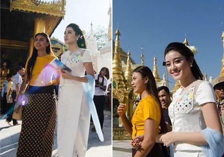 Huyen My xinh dep rang ro voi quoc phuc Myanmar - Anh 1
