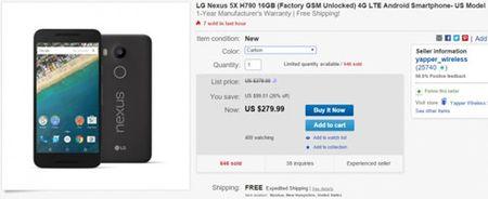 Nexus 5X chi 280 USD cho phien ban chua be khoa tren eBay - Anh 1