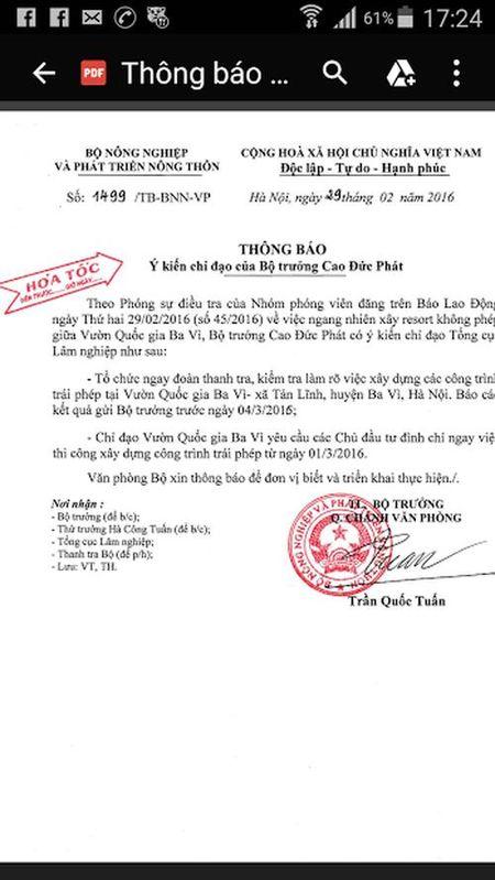 Vu xay resort khong phep giua Vuon Quoc gia Ba Vi: Chu dau tu thua nhan sai sot - Anh 1