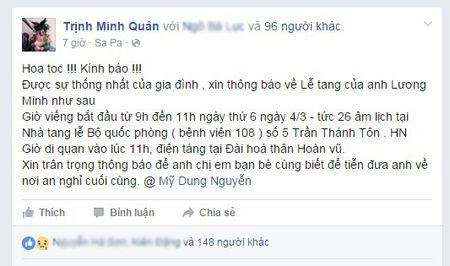 Le tang nhac si Luong Minh dien ra ngay 4/3 tai Ha Noi - Anh 1