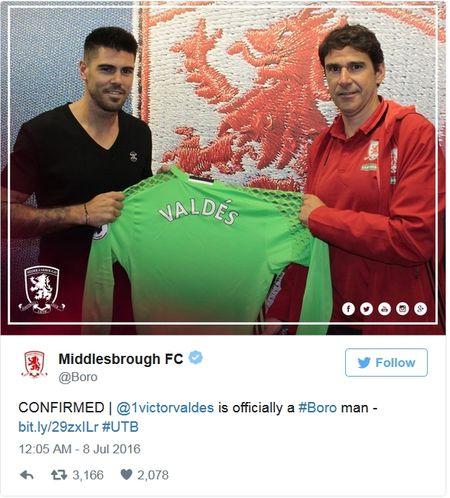 Chinh thuc: Valdes cap ben Middlesbrough - Anh 1