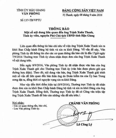 Hau Giang da nhan duoc don xin ra khoi Dang cua ong Trinh Xuan Thanh - Anh 1