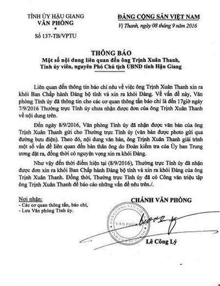 Tinh uy Hau Giang trieu tap ong Trinh Xuan Thanh - Anh 2
