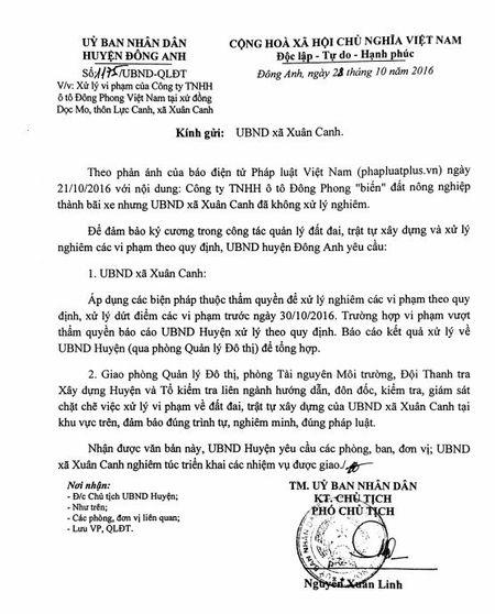 Huyen Dong Anh yeu cau xu ly nghiem bai tap ket xe trai phep cua Cong ty TNHH o to Dong Phong - Anh 3