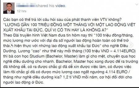 Du hoc sinh Duc phan doi phong su cua VTV ve nghe dieu duong vien, luong thang 100 trieu - Anh 2