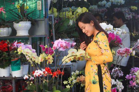 Thieu nu Hue xinh tuoi ao dai xuong pho don xuan - Anh 9