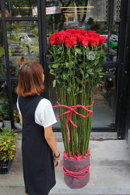 Qua tang Valentine: Hoa hong cao 2m, 15 trieu/bo - Anh 1