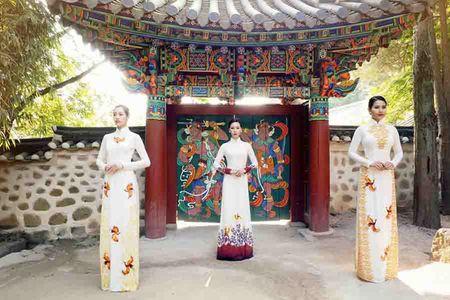 Nguoi mau Viet dien ao dai tai chua co Han Quoc - Anh 1