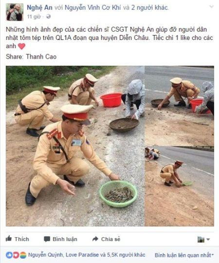 Cong dong mang khen ngoi hanh dong CSGT giup nguoi phu nu nhat tom - Anh 1