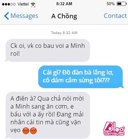 Dang lam bong vo nhan tin 'Chong oi, em co bau voi anh Minh roi! - Anh 1
