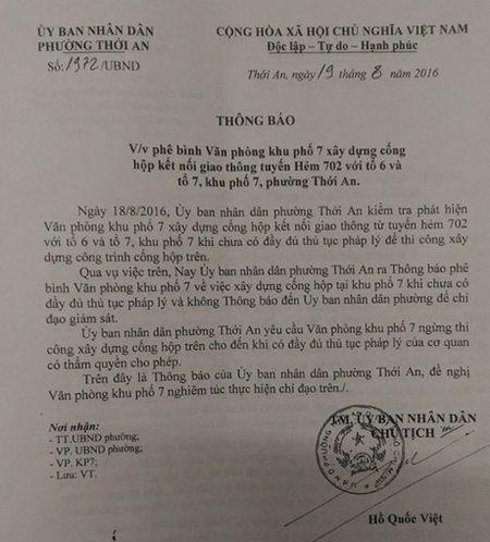 Ky 8: Dong co gi khi Chu tich UBND phuong Thoi An kien nghi xay dung cong khong phai vi dan? - Anh 2