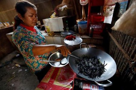 'Mat chu O mieng chu A' voi cho ban thit nhen o Campuchia - Anh 4