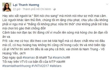 Cao Thien Trang len tieng ve tin nhan 'tha thinh' ban trai Lai Thanh Huong - Anh 1