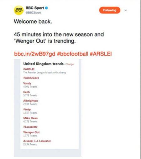 Ngay tran ra mat, 'Wenger Out' da lam loan Twitter - Anh 3