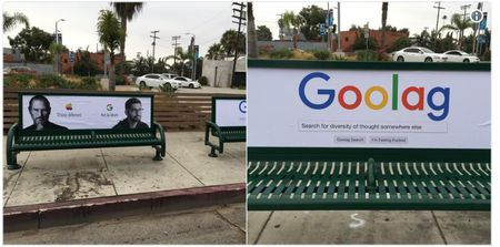 Mot loat hinh anh che nhao CEO cua Google duoc phat tan ngay ben ngoai tru so tai Los Angles - Anh 3