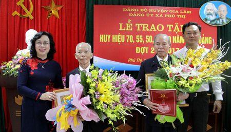 Dong chi Ngo Thi Thanh Hang trao Huy hieu Dang tai huyen Gia Lam - Anh 1