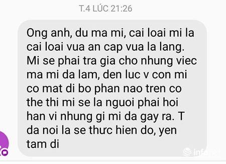 Da Nang: Ke xau de doa vo con phong vien Infonet 'mat di bo phan tren co the' - Anh 1