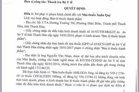 Nha thuoc Xuan Quy bi xu phat vi pham hanh chinh 7.500.000 dong - Anh 1