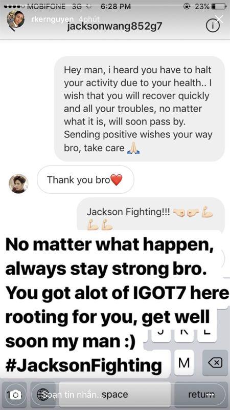 Jackson (GOT7) tam dung hoat dong vi suc khoe yeu, Rocker Nguyen voi 'inbox' tham hoi - Anh 1