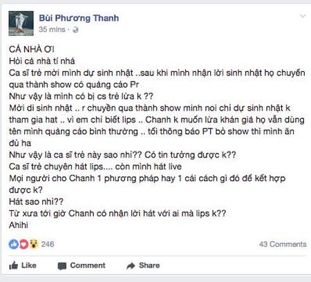 Phuong Thanh len tieng ve chuyen 'xu' show, ngu y noi Lam Khanh Chi noi doi va hat nhep - Anh 2