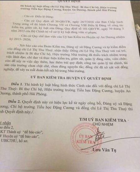 """UBND huyen An Duong """"quen"""" xu ly, ky luat Hieu truong truong tieu hoc Dang Cuong? - Anh 1"""