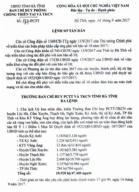 Ha Tinh: Phat lenh so tan dan, ung pho voi bao so 1 - Anh 1