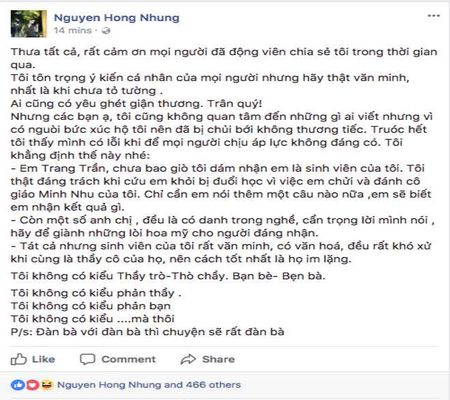 Trang Tran chi trich vo Xuan Bac, benh vuc NSUT Anh Tu - Anh 1