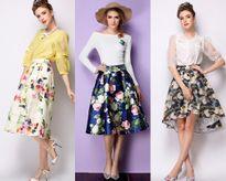 Mùa hè cực thoải mái với chân váy xòe họa tiết hoa dễ thương, thanh lịch