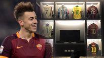 Sao AS Roma khoe bộ sưu tập áo danh thủ