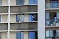 Phụ huynh thót tim khi chứng kiến cảnh hai đứa trẻ chạy nhảy trên bờ tường ngoài cửa sổ tầng 10