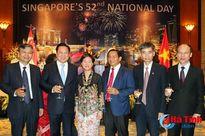 Bí thư Tỉnh ủy dự chiêu đãi kỷ niệm 52 năm Quốc khánh Singapore