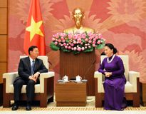 Chủ tịch Quốc hội tiếp Đoàn Ủy ban Hòa bình và Đoàn kết Lào