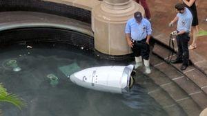 Robot cảnh sát ngã sấp mặt, 'chết đuối' dưới đài phun nước