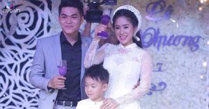 Cô dâu Lê Phương xinh đẹp ngọt ngào bên con trai trong đám cưới ở quê chồng