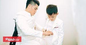 Ông xã Trung Kiên ân cần chăm sóc con trai Lê Phương trước giờ đón khách