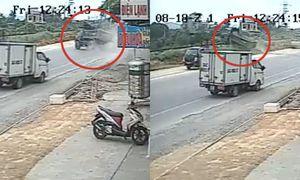 Clip ô tô mất lái, cắt ngang đường ray ở Quảng Ninh
