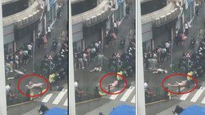 Bão cấp 10 ở Hong Kong thổi bay người trên phố