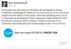Ông chủ Facebook ủng hộ 1 triệu USD cho người dân Mexico