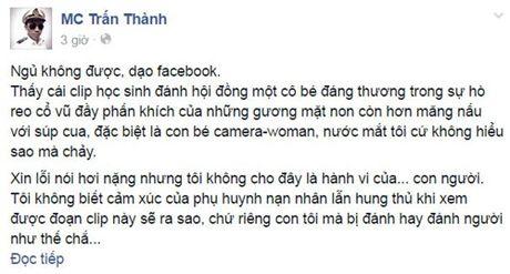 MC Tran Thanh soc voi clip nu sinh Tra Vinh danh nhau - Anh 2