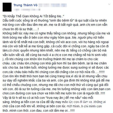 Thanh Trung tam su cam dong ve me khien fans roi nuoc mat - Anh 1