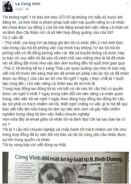 Cong Vinh phan ung gay gat bai bao to anh thieu chuyen nghiep - Anh 2