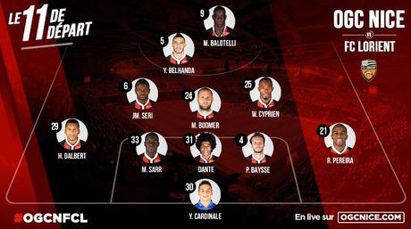 Nice vs Lorient (1-0, HT): Balotelli lien tuc bi pham loi - Anh 11