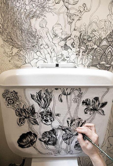 Phu phep toilet thanh khong gian nghe thuat dep kinh ngac - Anh 7