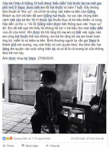 Cau be 10 tuoi o Sapa bieu dien hut thuoc lao nghi ngut khoi de kiem tien - Anh 2
