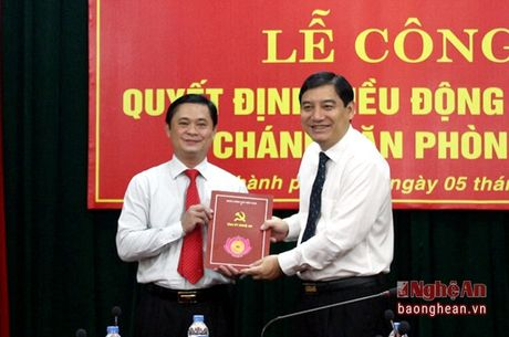 Bi thu huyen uy Nam Dan duoc bo nhiem lam Chanh Van phong Tinh uy Nghe An - Anh 1