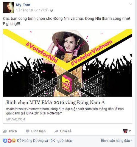 Hang loat sao Viet keu goi ung ho Dong Nhi tai EMA 2016 - Anh 2
