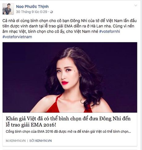 Hang loat sao Viet keu goi ung ho Dong Nhi tai EMA 2016 - Anh 4