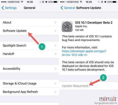 Apple tung ra ban cap nhat iOS 10.1 Beta 2 - Anh 1