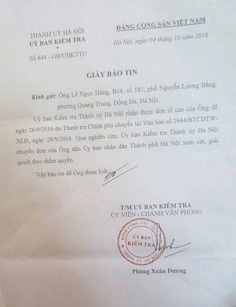 Uy ban Kiem tra Thanh uy Ha Noi 'da bong' vu to cao Chu tich quan Dong Da? - Anh 1