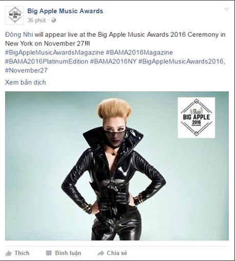 Dong Nhi tu choi loi moi den New York tu 'Big Apple Music Awards' - Anh 1